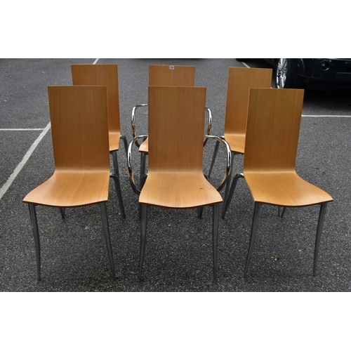 1002 - A set of six 'Olly Tango' chairs, made in Italy, to include two carvers, 91cm high.<strong>This lot...