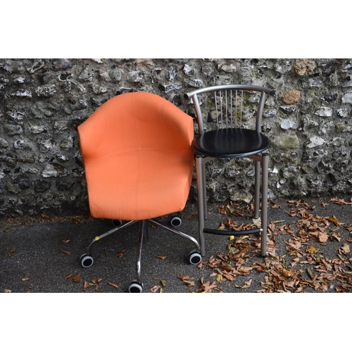 1007 - An office chair by 'Ligne Roset'; together with a modern stool.<strong>This lot can only be collect...
