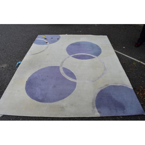 1008 - A modern rug, 200 x 250cm; together with another linear design rug.<strong> This lot can only be col...
