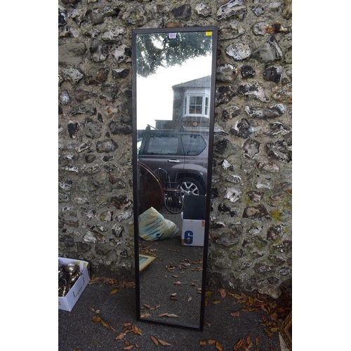 1011 - An Ikea full length mirror, 160 x 40cm; an antique inlaid overmantel mirror; two lamps; a hanging co...