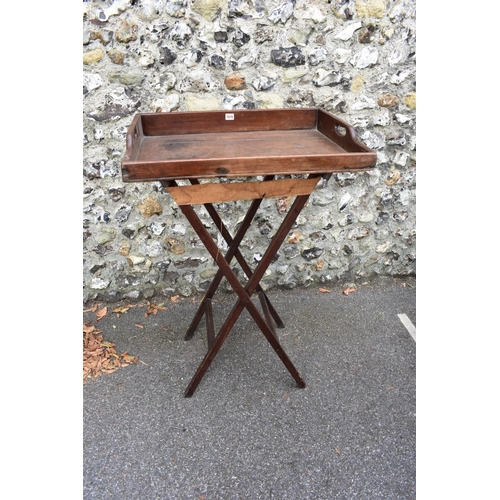 1016 - An antique butler's tray on stand.<strong>This lot can only be collected on Saturday 10th October. ...