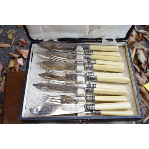 1036 - A cased set of ivory handled fish knives and forks; together with other plate, some cased sets.This...