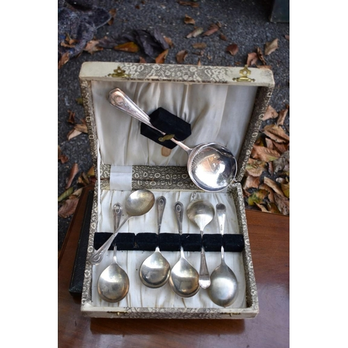 1036 - A cased set of ivory handled fish knives and forks; together with other plate, some cased sets.<str...