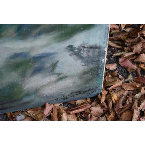 1040 - Two oil paintings by Juliette Monroe?, dated 1984, largest 122 x 106cm.<strong>This lot can only be...