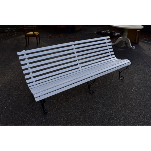 1054 - An old wrought iron garden bench, 195cm wide. <strong>This lot can only be collected on Saturday 10t...