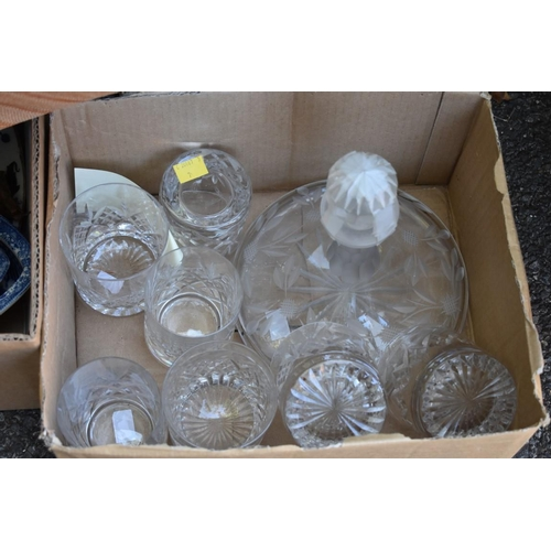 1089 - Two boxes of sundry items to include: two stoneware lamps; and glasses. This lot can only be collect...