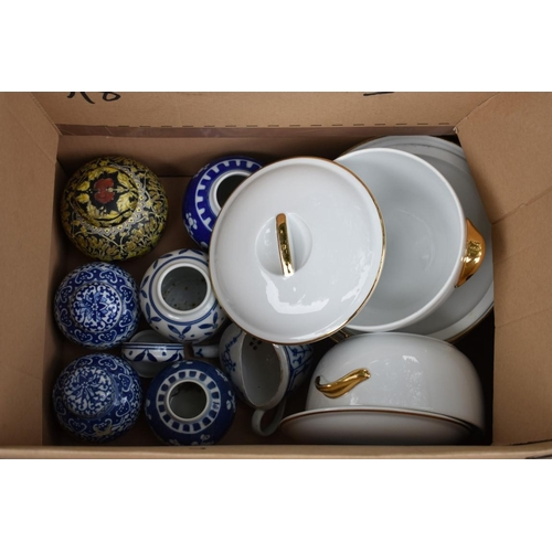 1097 - A quantity of Chinese ginger jars and covers; together with a Royal Worcester tureen and cover. This...