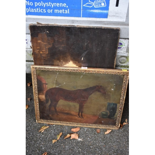 1102 - An oil of horse; together with an oil of boat in cave.<br /><strong>This lot can only be collected o...
