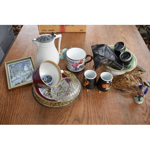 1106 - A mixed lot, to include: a Prattware cup and saucer; opera glasses; and other items.<br /><strong>Th...