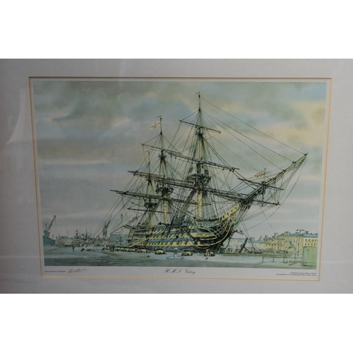 1111 - A watercolour of Emsworth by David Kitchen; together with a Nikolsky print of HMS Victory.<br /><str...