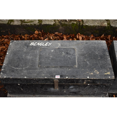 1121 - Two old black painted trunks, largest 85.5cm wide.<br /><strong>This lot can only be collected on Sa...