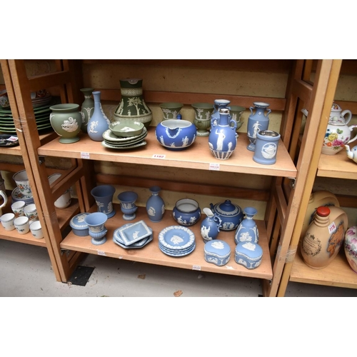 1182 - A collection of Wedgwood and other jasperware. (two shelves)