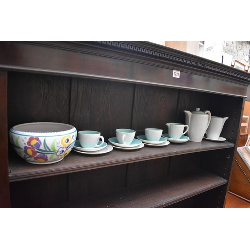 1232 - A Poole pottery bowl, 17cm diameter; together with a part coffee service.