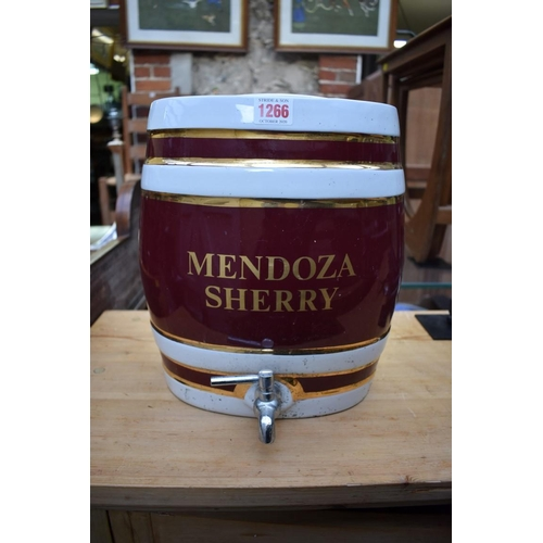 1266 - A pottery 'Mendoza Sherry' barrel and cover, with tap, 30cm high.