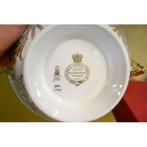 1345 - A Spode limited edition 'Armada' cabinet cup and stand;together with two other 'Royal Collection' l...