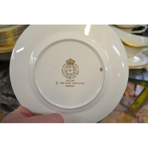 1347 - A Royal Worcester 'Durham' pattern part dinner service,comprising: a graduated pair of oval se...