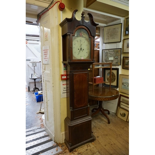 1349 - <strong>A 19th century mahogany and line inlaid eight day longcase clock,</strong>with 13in painted...