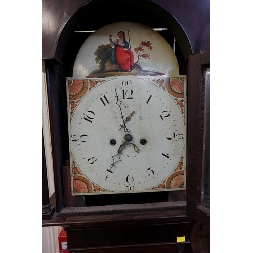 1349 - A 19th century mahogany and line inlaid eight day longcase clock,with 13in painted arched dial, 221...