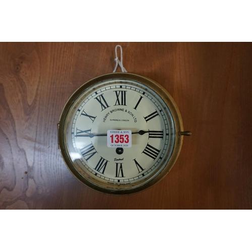 1353 - <strong>A Sestrel brass bulkhead timepiece, </strong>19.5cm diameter....