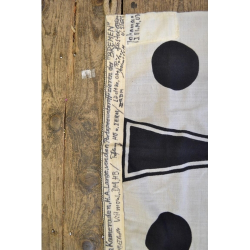 1391 - An Imperial German Navy pennant,variously inscribed, 50 x 53cm.