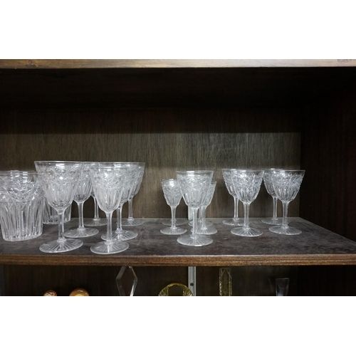 1498 - A good early 20th century cut glass part suite of drinking glasses.(25)