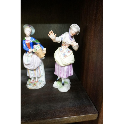 1504 - Three pairs of continental porcelain figures,to include two Sitzendorf pairs, largest 18cm high....