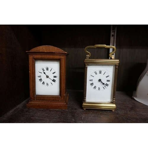 1505 - <strong>Two old carriage timepieces, </strong>(s.d. to dial of each), each with winding key....