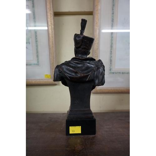1535 - <strong>A bronze bust of August Von Mackesen,</strong>on ebonized socle, 27.5cm high....