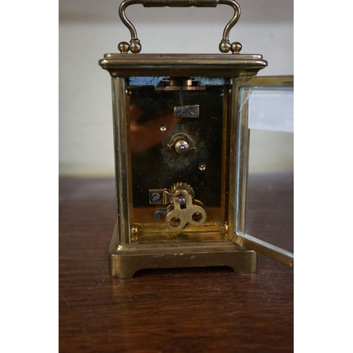 1612 - <strong>Two old brass carriage timepieces,</strong>the dial of one inscribed 'Mappin & Webb', h...