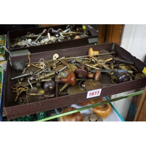 1673 - <strong>Horology:</strong>a collection of pendulums; winding keys; and other clock keys....