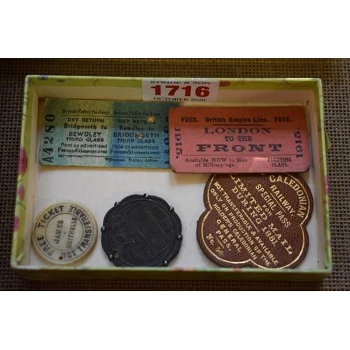 1716 - Railwayana: a rare Victorian bone 'Manchester, Sheffield, and Lincolnshire Company' Free Ticket insc...