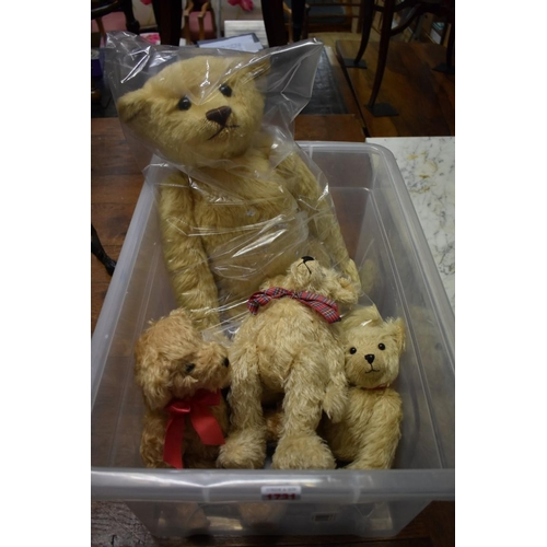 1731 - <strong>A large Steiff teddy bear, </strong>No.00674, 56cm long; together with three other small ted...