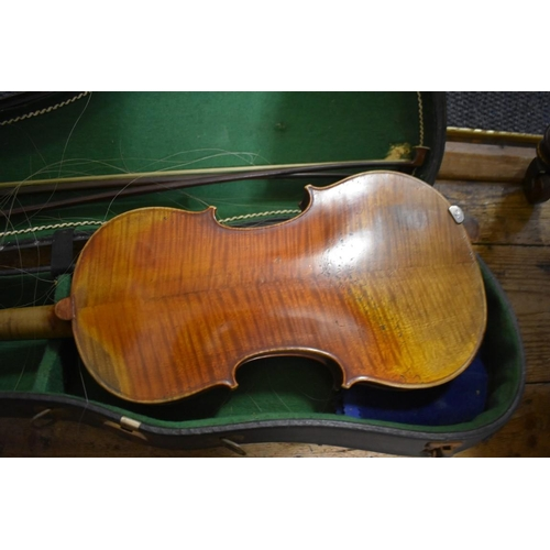 1737 - <strong>An antique Continental violin,</strong>labelled 'Nicolaus Amatus...', with 14in two piece b...