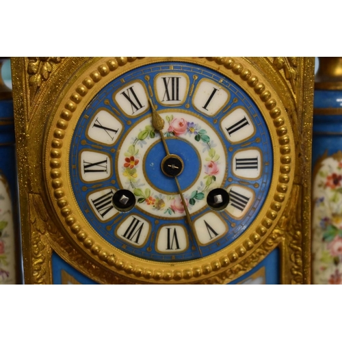 1747 - <strong>A Louis XVI gilt spelter and painted porcelain mantel clock, </strong>the bell striking move...