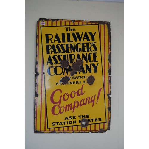 1493 - <strong>A 1930s enamel 'The Railway Passengers Assurance Company' sign, </strong>76 x 51cm....