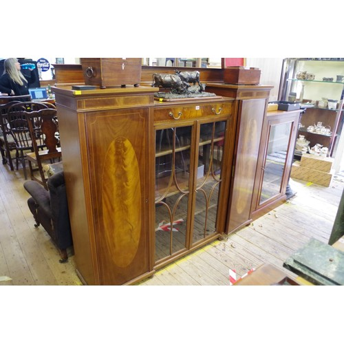 1009 - A mahogany and inlaid inverted breakfront side cabinet, 169.5cm wide. <strong>This lot can only be c...
