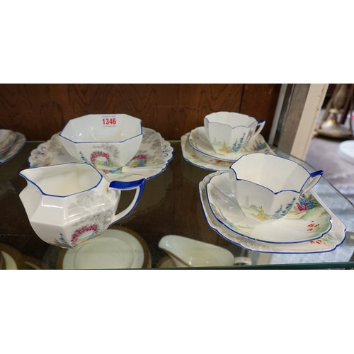 1346 - A Shelley 'Archway of Roses' pattern part tea service, in the Queen Anne shape, comprising: sandwich...