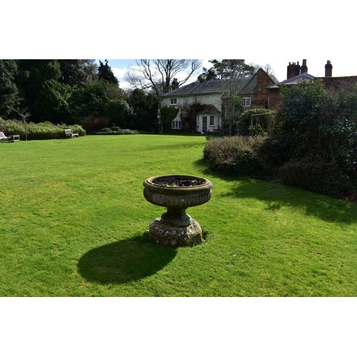1868 - (THH) A very large and impressive antique carved white marble oval campana urn,with gadrooned body,...