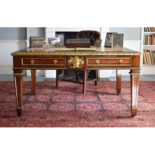 1901 - (THH) A good Regency rosewood, ormolu and brass inlaid library table,attributable to Louis Le Gaign...