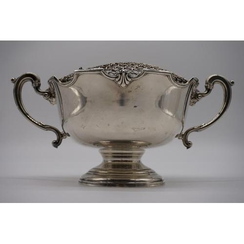 1 - <strong>A silver twin handled pedestal rose bowl,</strong>by<em>Elkington & Co Ltd,</em>Birmi...