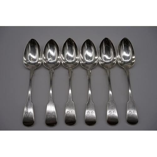 109 - A set of George III silver fiddle pattern tablespoons,bySolomon Hougham, Solomon Royes &...