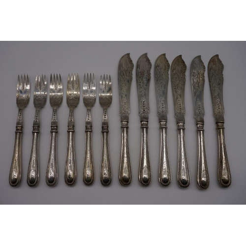 114 - A set of six Victorian silver bead pattern fish knives and forks, by John Gilbert & Co, Birmingh...