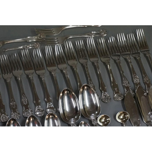 118 - A quantity of Georgian and later silver Kings pattern flatware, mixed makers and dates, 4560g. (73)...