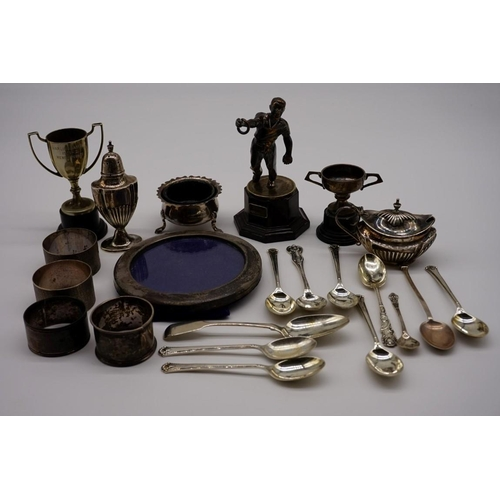 126 - A quantity of silver and other metal items, to include spoons; napkin rings; and a circular photogra...