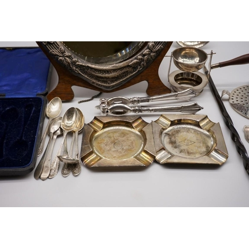 132 - A quantity of silver, silver mounted and other metal items, to include: a cased set of six silver te...