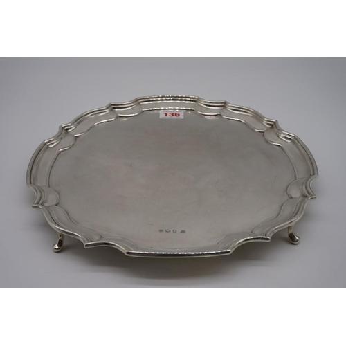 136 - A silver salver, by G W Shirtcliffe & Son, Sheffield 1920, 30.5cm diameter, 799g....