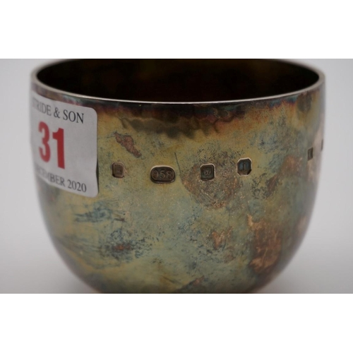 31 - <strong>An unusual Britannia standard hammered silver gilt lined tumbler,</strong>by<em>The Silver...