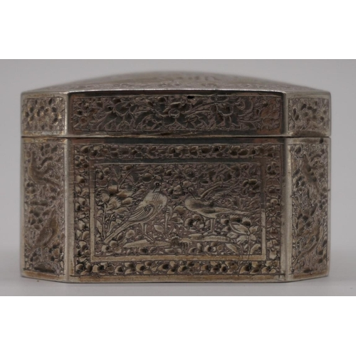 35 - <strong>An Indian white metal octagonal trinket box,</strong> 6.5cm....