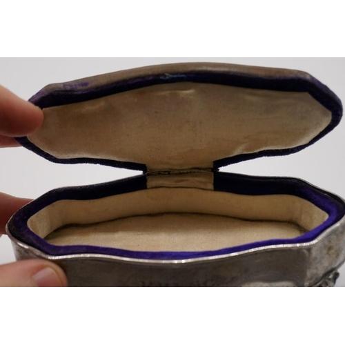 36 - <strong>An Edwardian silver velvet lidded jewel casket,</strong> by <em>Britton, Gould & Co,</em...