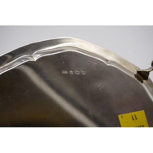 37 - <strong>A silver salver,</strong> by <em>Atkin Brothers,</em> Sheffield 1956, 20.5cm diameter, 334.5...